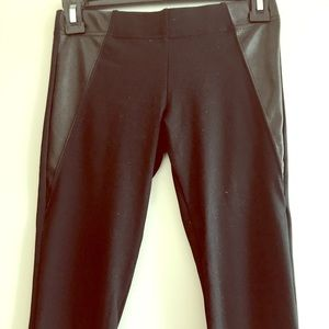 DAVID LERNER Black Leggings with Faux-Leather